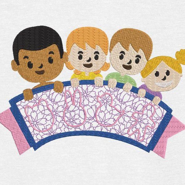 Motif de broderie machine groupe d'enfants avec une banderole.