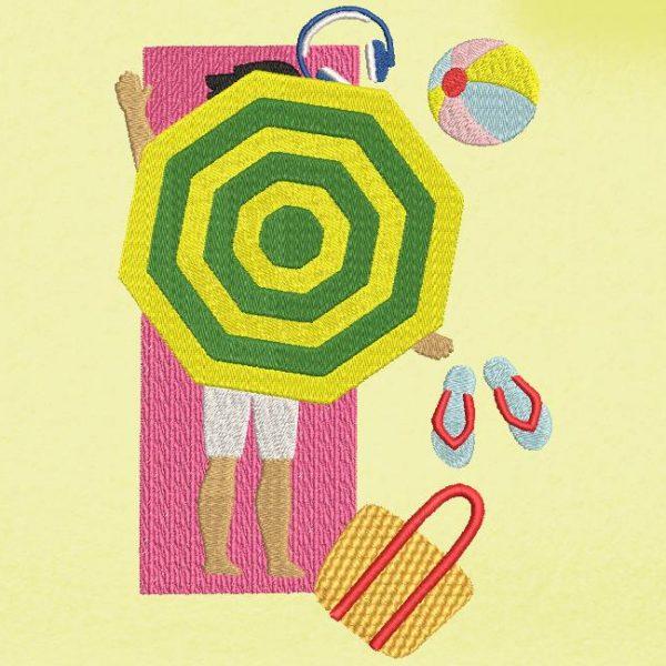 Motif de broderie machine d'un homme allongé sur la plage sous un parasol avec son sac ,ses tongs ,son casque audio et son ballon de plage.