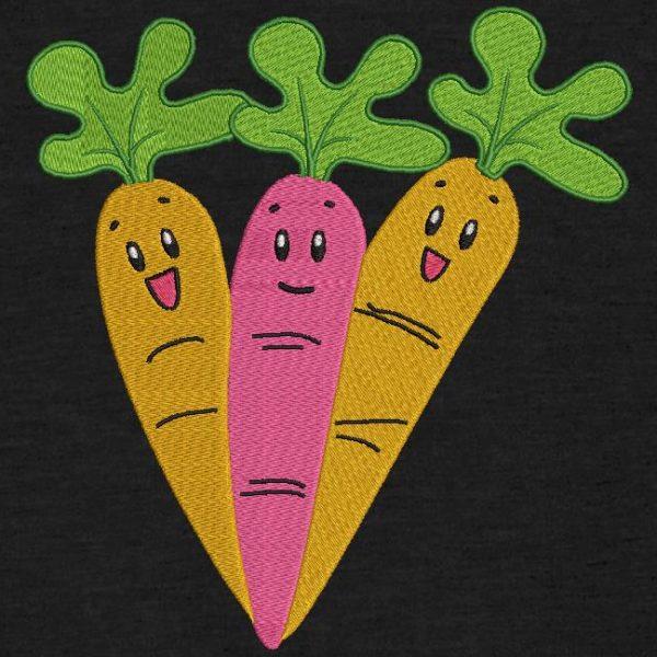 Motif de broderie machine trois carottes joyeuses.