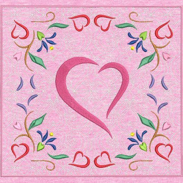 Motif de broderie machine cadre arabesque cœur.