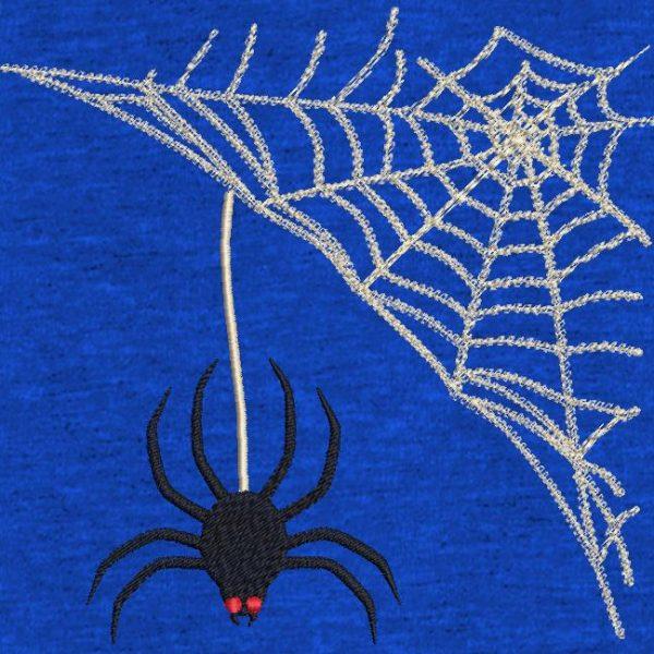 Motif de broderie machine araignée Halloween et sa toile.
