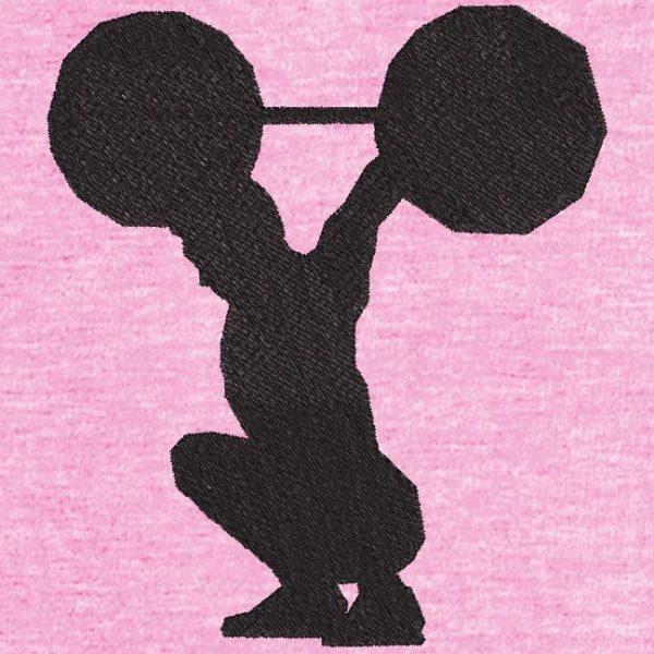 Motif de broderie machine d'une silhouette d'haltérophilie.