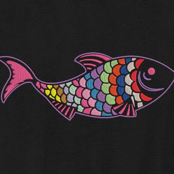 Motif de broderie machine d'un poisson décoratif.
