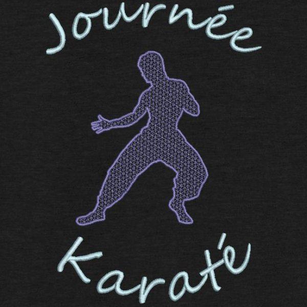 motif de broderie machine journée karaté. silhouette de Bruce Lee