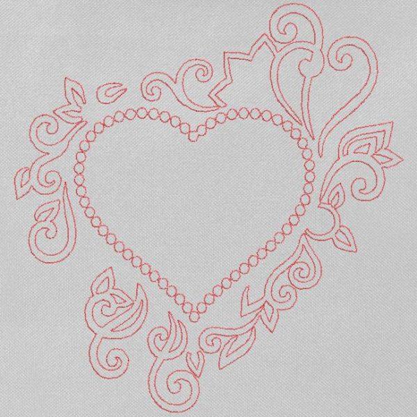 motif de broderie machine cadre cœur décoratif redwork.