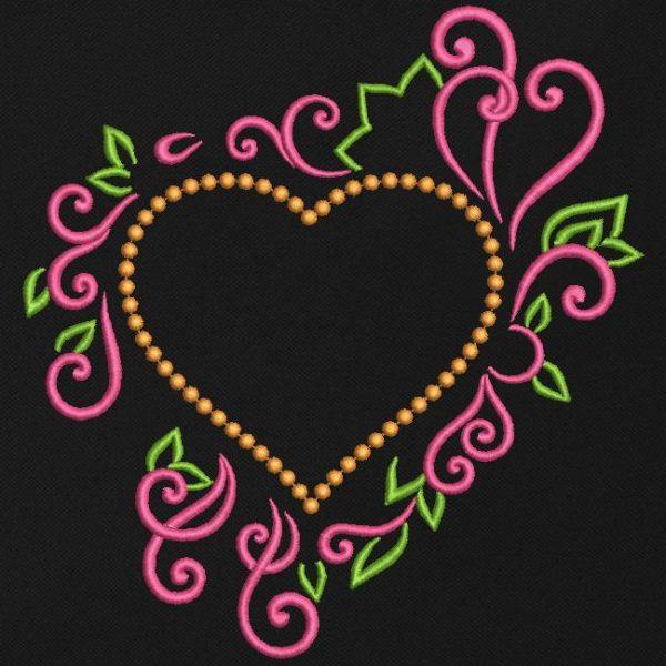 motif de broderie machine cadre cœur décoratif .