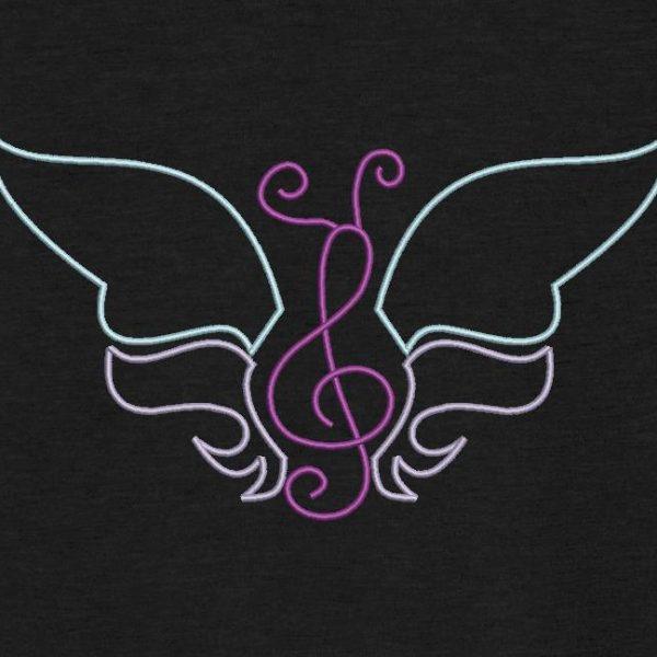 motif de broderie machine papillon musical redwork. Un papillon en forme de note de musique.