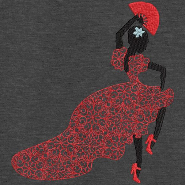 Motif de broderie machine d'une danseuse de boléro.