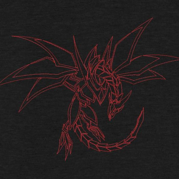 Motif de broderie machine dragon graphique redwork.