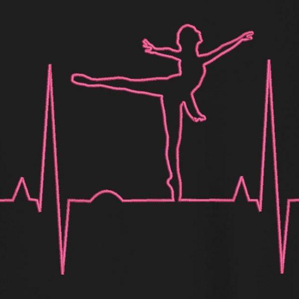 motif de broderie machine Danseuse électrocardiogramme.