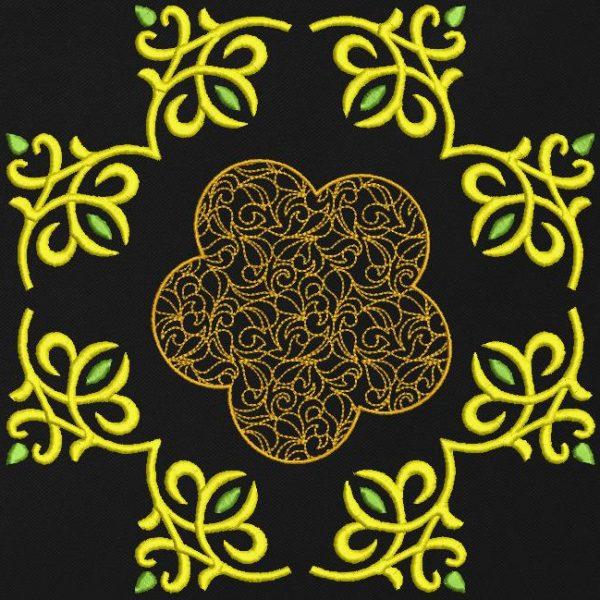 motif de broderie machine décoratif 5. cadre et croix arabesques