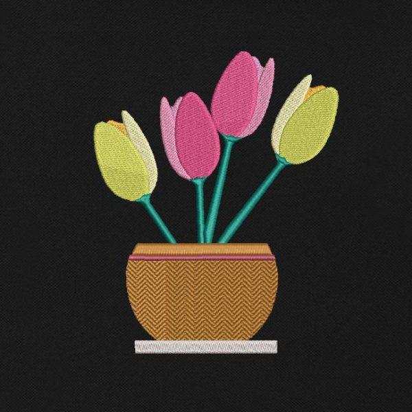 motif de broderie machine vase floral tulipes.