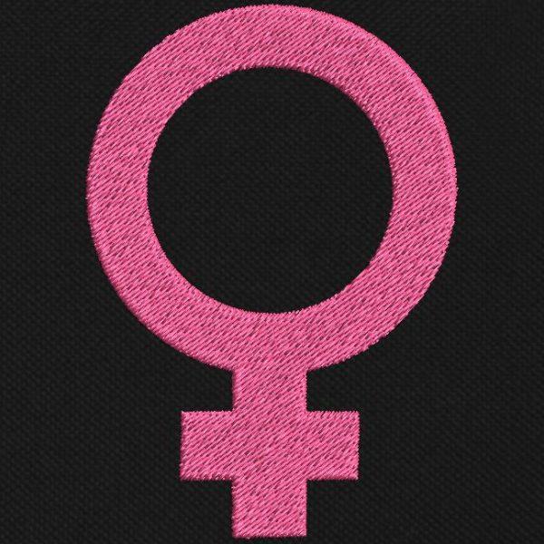 motif de broderie machine symbole, logo féminin ou femelle.