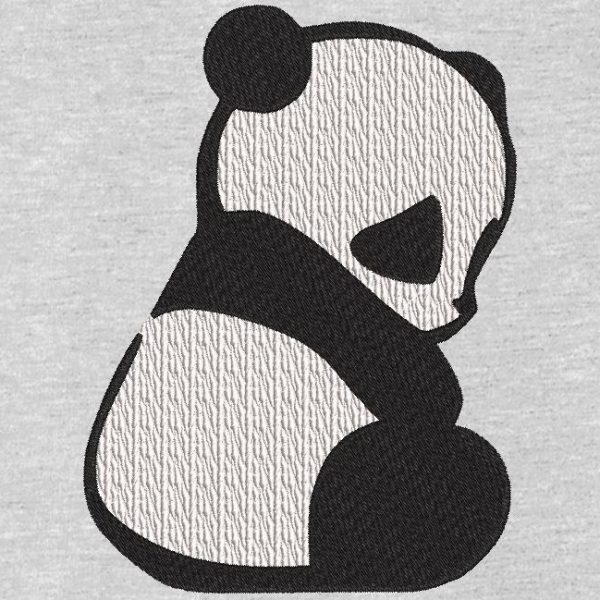 motif de broderie machine silhouette d'un panda assis.