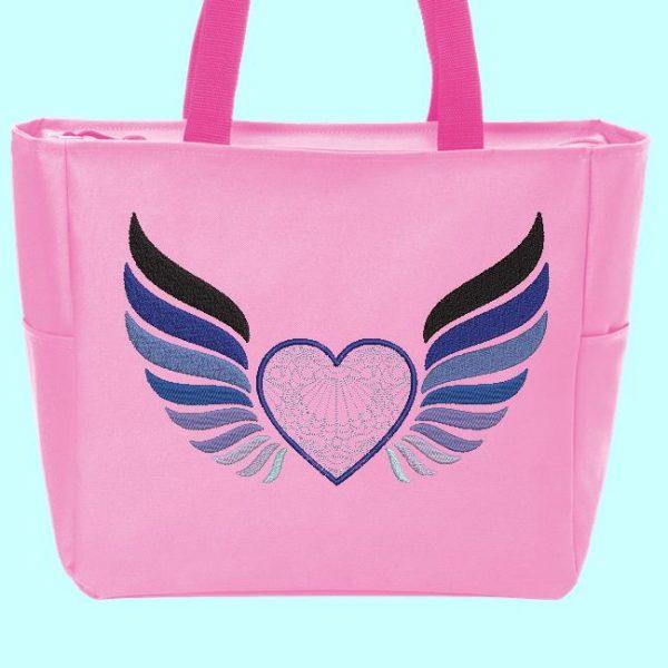 motif de broderie machine cœur avec des ailes 2