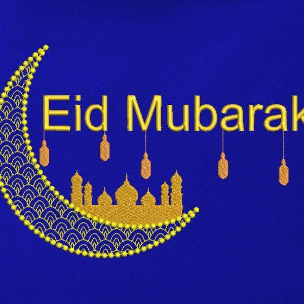 motif de broderie machine Eid mubarak. Réligion islam.