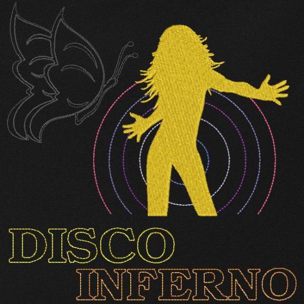 motif de broderie machine disco inferno. Qui représente une femme qui danse dans une ambiance imaginaire de nigth club retro vintage.