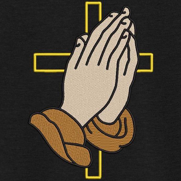 motif de broderie machine mains prières croix Jésus.
