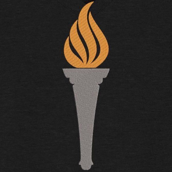 motif de broderie machine torche ou flamme olympique.
