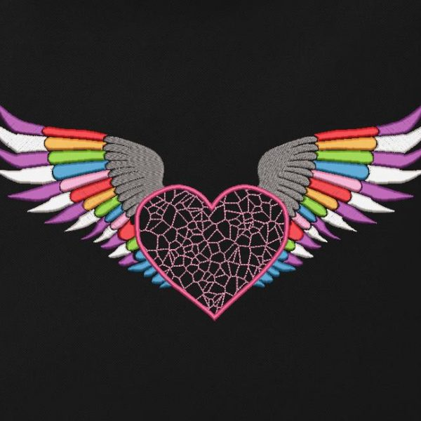 motif de broderie machine d'un cœur avec des ailes.