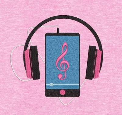 motif de broderie machine smartphone iPhone et casque audio. cadre: 10 x 10 / 13 x 18 /16 x 26 / 20 x 20 / 20 x 30 . Formats des fichiers dans votre téléchargement PES,CSD,EXP,HUS,SHV,VIP,XXX,DST,PCS,VP3,EMB,JEF…