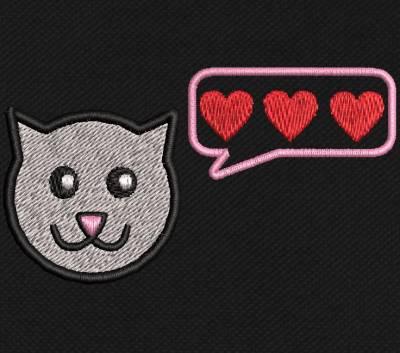 motif de broderie machine chaton d'amour 5 cm pour masques. cadre: 10 x 10 / taille du motif : 5 cm . Formats des fichiers dans votre téléchargement PES,CSD,EXP,HUS,SHV,VIP,XXX,DST,PCS,VP3,EMB,JEF…