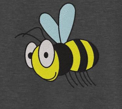motif de broderie machine d'une abeille. Motif pour enfants et bébés. cadre: 10 x 10 / 13 x 18 /16 x 26 / 20 x 20 / 20 x 30 . Formats des fichiers dans votre téléchargement PES,CSD,EXP,HUS,SHV,VIP,XXX,DST,PCS,VP3,EMB,JEF…