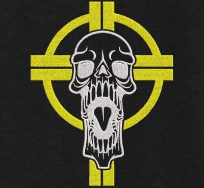 motif de broderie machine croix celtique avec une tête de mort. cadre: 10 x 10 / 13 x 18 /16 x 26 / 20 x 20 / 20 x 30 . Formats des fichiers dans votre téléchargement PES,CSD,EXP,HUS,SHV,VIP,XXX,DST,PCS,VP3,EMB,JEF…