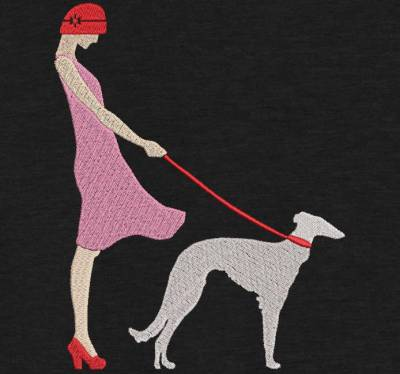 Motif de broderie machine jeune femme élégante avec son chien. cadre:10 x 10 / 13 x 18 /16 x 26 / 20 x 20 / 20 x 30 . Formats des fichiers dans votre téléchargement PES,CSD,EXP,HUS,SHV,VIP,XXX,DST,PCS,VP3,EMB,JEF…