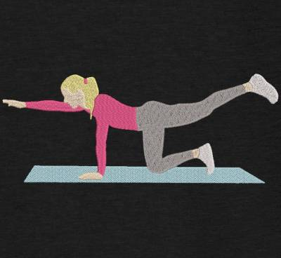 Motif de broderie machine d'une femme qui fait de la gymnastique sur un tapis de sol. cadre:10 x 10 / 13 x 18 /16 x 26 / 20 x 20 / 20 x 30 . Formats des fichiers dans votre téléchargement PES,CSD,EXP,HUS,SHV,VIP,XXX,DST,PCS,VP3,EMB,JEF…