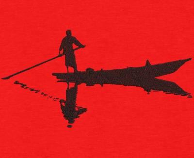 Motif de broderie machine silhouette d'un homme sur un bateau. cadre:10 x 10 / 13 x 18 /16 x 26 / 20 x 20 / 20 x 30 . Formats des fichiers dans votre téléchargement PES,CSD,EXP,HUS,SHV,VIP,XXX,DST,PCS,VP3,EMB,JEF…