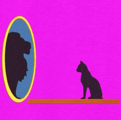 motif de broderie machine d'un chat qui se voit en lion dans un miroir. cadre:10 x 10 / 13 x 18 /16 x 26 / 20 x 20 / 20 x 30 . Formats des fichiers dans votre téléchargement PES,CSD,EXP,HUS,SHV,VIP,XXX,DST,PCS,VP3,EMB,JEF… Téléchargement immédiat après votre paiement et aussi disponible dans votre compte.