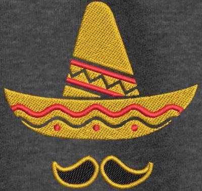 Motif de broderie machine sombrero mexicain et moustaches. cadre: 10 x 10 . Formats des fichiers dans votre téléchargement PES,CSD,EXP,HUS,SHV,VIP,XXX,DST,PCS,VP3,EMB,JEF… Téléchargement immédiat après votre paiement et aussi disponible dans votre compte.