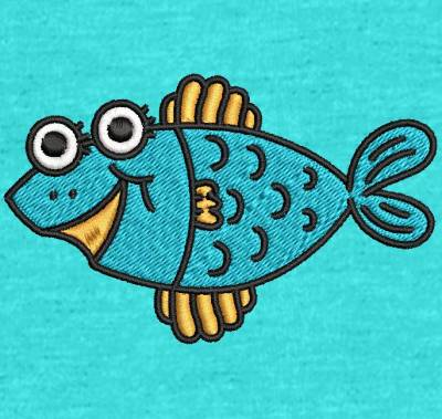 Motif de broderie machine poisson rigolo. cadre: 10 x 10 . Formats des fichiers dans votre téléchargement PES,CSD,EXP,HUS,SHV,VIP,XXX,DST,PCS,VP3,EMB,JEF… Téléchargement immédiat après votre paiement et aussi disponible dans votre compte.