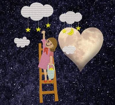 la chasse aux étoiles. Motif de broderie machine la chasse aux étoiles qui représente une petite fille entrain de cueillir des étoiles accrochées aux nuages , avec son petit panier à étoiles et lunes. Elle est sur une échelle la tête dans les nuages. cadre: 10 x 10 /13 x 18 / 20 x 20 / 26 x 16 / 20 x 30. Formats des fichiers dans votre téléchargement PES,CSD,EXP,HUS,SHV,VIP,XXX,DST,PCS,VP3,EMB,JEF… Téléchargement immédiat après votre paiement et aussi disponible dans votre compte. N'hésitez pas à nous demander le format de fichier de broderie compatible avec votre machine si il ne figure pas dans la liste ci dessus. Merci. Motif de broderie mis en ligne le 17 janvier 2021