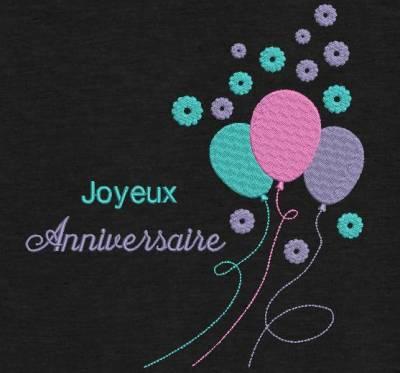 Motif de broderie machine joyeux anniversaire festif avec des ballons. cadre:   10 x 10 /13 x 18 / 20 x 20 / 26 x 16 /20 x 30 . Formats des fichiers dans votre téléchargement PES,CSD,EXP,HUS,SHV,VIP,XXX,DST,PCS,VP3,EMB,JEF… Téléchargement immédiat après votre paiement et aussi disponible dans votre compte.