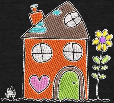 Motif de broderie machine maison dessin d'enfants. cadre:  10 x 10 /13 x 18 / 16 x 26 / 20 x 20 . Formats des fichiers dans votre téléchargement PES,CSD,EXP,HUS,SHV,VIP,XXX,DST,PCS,VP3,EMB,JEF… Téléchargement immédiat après votre paiement et aussi disponible dans votre compte.