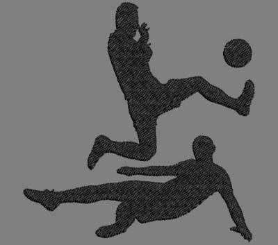 Motif de broderie machine silhouette de deux footballeurs. cadre: 10 x 10 / 20 x 20 . Formats des fichiers dans votre téléchargement PES,CSD,EXP,HUS,SHV,VIP,XXX,DST,PCS,VP3,EMB,JEF… Téléchargement immédiat après votre paiement et aussi disponible dans votre compte.