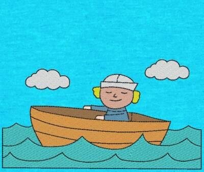 Motif de broderie machine petit mousse dans sa barque avec son chapeau de matelot, au milieu de l'océan sous les nuages. cadre: 10 x 10/ 13 x 18 . Formats des fichiers dans votre téléchargement PES,CSD,EXP,HUS,SHV,VIP,XXX,DST,PCS,VP3,EMB,JEF… Téléchargement immédiat après votre paiement et aussi disponible dans votre compte.