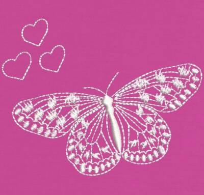 Motif de broderie machine papillon rose et ses cœurs redwork. cadre: 10 x 10 . Formats des fichiers dans votre téléchargement PES,CSD,EXP,HUS,SHV,VIP,XXX,DST,PCS,VP3,EMB,JEF… Téléchargement immédiat après votre paiement et aussi disponible dans votre compte.