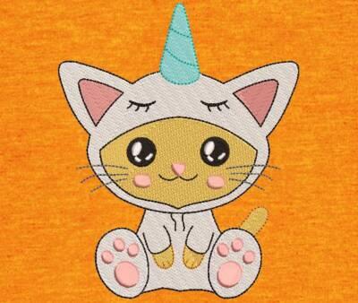 Motif de broderie machine adorable chat licorne. cadre: 10 x 10/ 13 x 18 . Formats des fichiers dans votre téléchargement PES,CSD,EXP,HUS,SHV,VIP,XXX,DST,PCS,VP3,EMB,JEF… Téléchargement immédiat après votre paiement et aussi disponible dans votre compte.