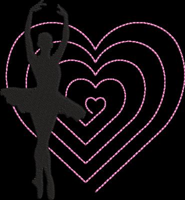 Motif de broderie machine danseuse et son cœur spirale. cadre: 10 x 10 / 13 x 18. Formats des fichiers dans votre téléchargement PES,CSD,EXP,HUS,SHV,VIP,XXX,DST,PCS,VP3,EMB,JEF… Téléchargement immédiat après votre paiement et aussi disponible dans votre compte.