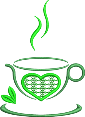 Motif de broderie machine tasse de thé avec un cœur et des feuilles. Idéal sur un torchon ,une nappe ou un tablier de cuisine. Dimensions : 10 x 10 cm . Formats des fichiers dans votre téléchargement PES,CSD,EXP,HUS,SHV,VIP,XXX,DST,PCS,VP3,EMB,JEF… Téléchargement immédiat après votre paiement et aussi disponible dans votre compte.