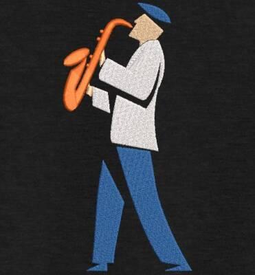Motif de broderie machine l'homme au saxophone. cadre: 10 x 10 . Formats des fichiers dans votre téléchargement PES,CSD,EXP,HUS,SHV,VIP,XXX,DST,PCS,VP3,EMB,JEF… Téléchargement immédiat après votre paiement et aussi disponible dans votre compte.