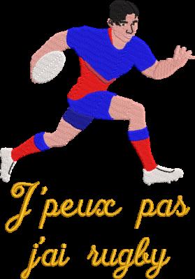 Motif de broderie machine j'peux pas j'ai rugby qui représente un joueur de rugby qui court avec son ballon. Dimensions : 10 x 10 cm / 13 x 18 cm / 16 x 26 cm / 20 x 20 cm. Formats des fichiers dans votre téléchargement PES,CSD,EXP,HUS,SHV,VIP,XXX,DST,PCS,VP3,EMB,JEF… Téléchargement immédiat après votre paiement et aussi disponible dans votre compte.