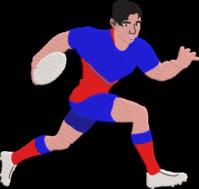 Motif de broderie machine qui représente un joueur de rugby qui court avec son ballon. Dimensions : 10 x 10 cm / 13 x 18 cm / 16 x 26 cm / 20 x 20 cm. Formats des fichiers dans votre téléchargement PES,CSD,EXP,HUS,SHV,VIP,XXX,DST,PCS,VP3,EMB,JEF… Téléchargement immédiat après votre paiement et aussi disponible dans votre compte. Après avoir téléchargé le dossier vous devez le dézipper pour récupérer le fichier compatible avec votre machine.