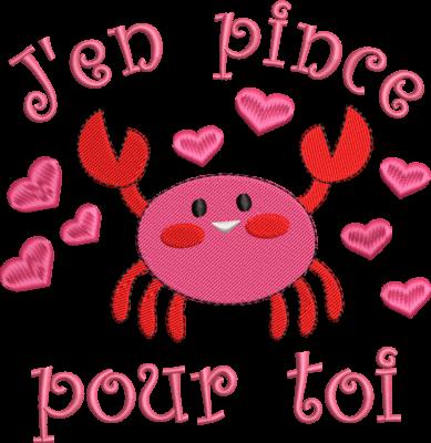 Motif de broderie machine crabe j'en pince pour toi. Dimensions : 10 x 10 cm / 13 x 18 cm . Formats des fichiers dans votre téléchargement PES,CSD,EXP,HUS,SHV,VIP,XXX,DST,PCS,VP3,EMB,JEF… Téléchargement immédiat après votre paiement et aussi disponible dans votre compte.