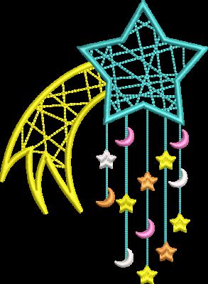 Motif de broderie machine attrape rêve étoile filante. Dimensions : 10 x 10 cm / 13 x 18 cm . Formats des fichiers dans votre téléchargement PES,CSD,EXP,HUS,SHV,VIP,XXX,DST,PCS,VP3,EMB,JEF… Téléchargement immédiat après votre paiement et aussi disponible dans votre compte.