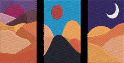 Motif de broderie machine coucher de soleil à la montagne. Dimensions : 10 x 10 cm / 13 x 18 cm . Formats des fichiers dans votre téléchargement PES,CSD,EXP,HUS,SHV,VIP,XXX,DST,PCS,VP3,EMB,JEF… Téléchargement immédiat après votre paiement et aussi disponible dans votre compte.