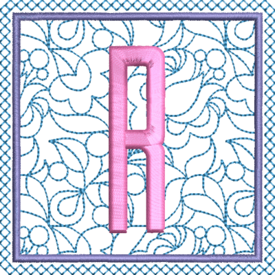 Motif de broderie machine alphabet carré fleuri R. Dimensions : 10 x 10 cm . Formats des fichiers dans votre téléchargement PES,CSD,EXP,HUS,SHV,VIP,XXX,DST,PCS,VP3,EMB,JEF… Téléchargement immédiat après votre paiement et aussi disponible dans votre compte.